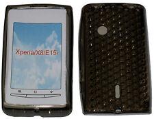 Modello di gomma TPU Gel Custodia Cover Nero per Sony Ericsson Xperia x8 x8i e15i