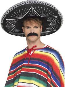 Deluxe Sombrero Hat Mexican Black Silver Braiding Mens Fancy Dress Accessory