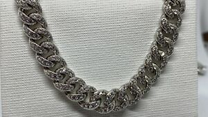 Genuine Solid Mens Sterling Silver 7mm CZ Chunky Cuban Chain Necklace 925 Stamp