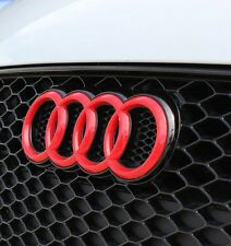 Audi RINGS RED GLOSS FRONT BONNET GRILLE GRILL BADGE EMBLEM LOGO 285x99mm