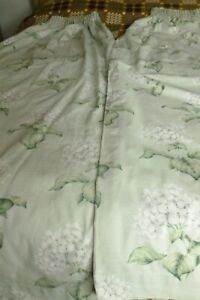Laura Ashley pair lined 100% cotton Heligan hydrangea design curtains VGC