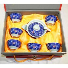 7-Piece Miniature Ceramic Chinese Tea Set with Dragons and Flaming Pearl