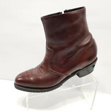 Double H Buggy Whip Side Zip Western Ankle Boots Burgundy Leather Sz 9 EE Mens