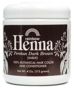 Rainbow Research Henna 100% Botanical Hair Color & Conditioner Dark Brown- 4 Oz
