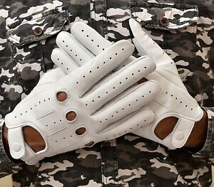 MEN's GENUINE LEATHER DRIVING RIDING GLOVES TEXTING GLOVES!!