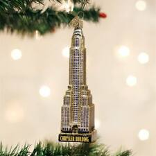 Chrysler Building New York Travel Skyscraper Christmas Ornament Glass NWT 20087