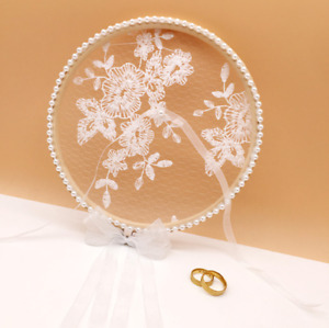 Round Wood Embroidered Floral Net Ring Pillow Holder Bride Groom Nuptial Wedding