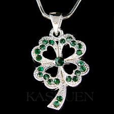 w Swarovski Crystal Irish St Patricks Emerald Four Leaf Clover Shamrock Necklace