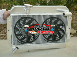 5 ROW Alu Radiator + FAN For Rover MG MGA 1500 1600 1622 DeLuxe Twin Cam 1955-62