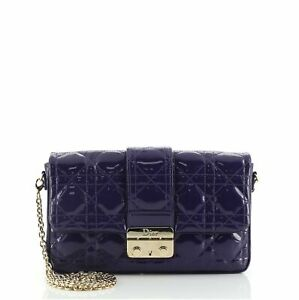 Christian Dior New Lock Pouch Cannage Quilt Patent Mini