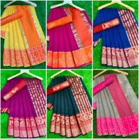 Designer Bollywood Saree Indian Pakistani Cotton Silk Traditional Kanjivaram VV
