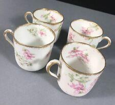 Lot #16 Vtg Haviland_ Set 4 Demitasse Cups Saucers Porcelain Limoges Flowers
