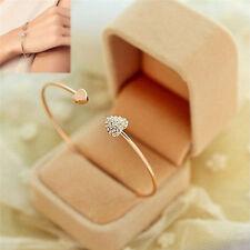 Women Simple Style Bangle Rhinestone Love Heart Cuff Golden Bracelet Jewelry FL