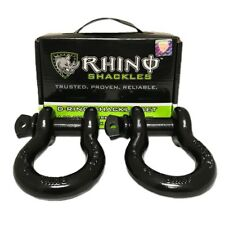 Grilletes de anillo D, Paquete de 2, Negro Original Top Quality By Rhino Usa
