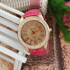 Ladies Fashion Quartz Rose Gold and Crystal Pink Band Wrist Watch(Aussie Seller)