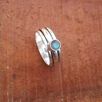 Labradorite Solid 925 Sterling Silver Spinner Meditation Statement Ring Rp11