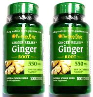 2 Bottles 550mg Ginger Root 100/200 Capsules Motion Sickness Nausea Digestive