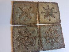 Beaded Handmade Coaster Set Vintage Snowflake