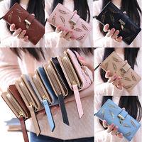 Women Fashion Bifold Leaves Wallet Leather Clutch Card Holder Purse Long Handbag