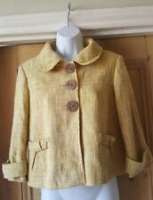 a639e5c0aa NEXT Women's Mustard Yellow Tweedy 60's Style cropped Jacket. 3/4 sleeve.