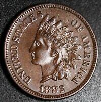 1882 INDIAN HEAD CENT - With LIBERTY & Near 4 DIAMONDS - AU UNC