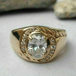 2.02Ct Oval Cut Diamond Men's Wedding Anniversary Band Ring 14k Yellow Gold Over