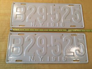 ANTIQUE MATCHING 1916 NEW YORK STATE LICENSE PLATE # B29-525 VGC
