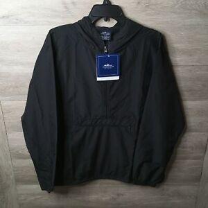 Charles River Mens Medium Black Lightweight Pack N Go Pullover Hooded Jacket NWT