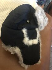 Mad Bomber Black Rabbit Fur Trapper Aviation Winter Hat Medium Ear Flaps
