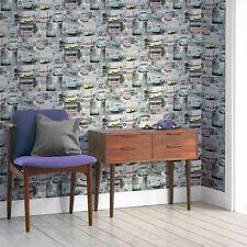 VW Volkswagen Collage Wallpaper Pastel-Muriva 102563 Escarabajo Camper Van Nuevo