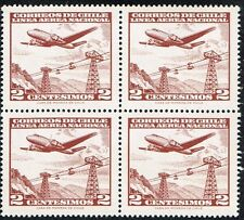 CHILE 1961 AIR MAIL STAMP # 618 (VALOR EN ESCUDOS) AVIATION BLOCK OF FOUR