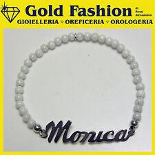 Bracciale argento con tuo nome personalizzato - bianco
