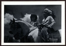 VINTAGE 30s VERNACULAR Photo Man Dressed as Indian w Headdress Cowgirl On Horses
