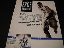 Eros Ramazzotti on promotional tour of Latin America/Usa 1993 Promo Poster Ad