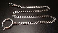 "STERLING SILVER 925 POCKET WATCH HOLDER CHAIN FOB SWIVEL CLASP 15"" LONG"
