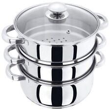 Couscoussier cuit vapeur inox 3 niveaux 24cm Tout feux et induction 5 litres