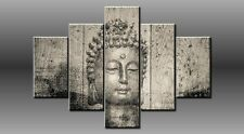LARGE BUDDHA BLACK GREY CANVAS WALL PICTURE ART SPLIT MULTI PANEL 40X28 0368/5