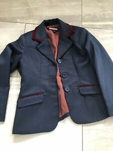 """Beautiful childs pretty ponies navy show jacket small new 24"""""""