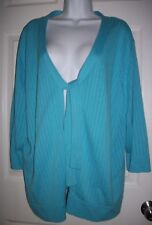 Designers Original Women's Blue Open Tie Front Sweater Size 3X