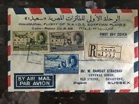 1948 Cairo Egypt Inaugural Flight Cover to Rome Italy First FFC SAIDE