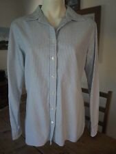 Lands' End Women's Blue Striped Button Down Long Sleeves Top Size 12