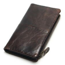 Men's Genuine Leather Wallet Long Clutch Money Car Holder High Quality Wallet