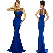 Sz 12 14 Blue Black Mesh Sleeveless Formal Cocktail Evening Party MaxiDress