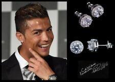 6a106959fea7 Para Hombre adolescente s  Ronaldo 10 mm 18 Ct Blanco Placa de Oro Cristal  Diamante