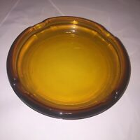 Vintage MCM Burnt Orange Round Glass Cigar Ashtray 7.75 inches thick