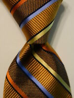 BRUNO PIATTELLI Men's 100% Silk Necktie Designer STRIPED Gold/Blue/Orange GUC
