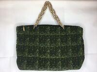 Vtg Purse Handbag Chain Purse Green Zippered