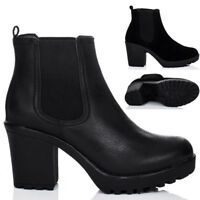 WOMENS PLATFORM CLEATED SOLE BLOCK HEEL ANKLE BOOTS SHOES
