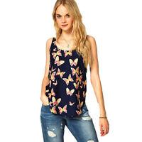 Women Summer Floral Printed Vest Sleeveless Tops Beach Casual T Shirt Blouse Top