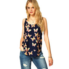 Women Summer Floral Printed Vest Sleeveless Tops Beach Casual T Shirt Blouse Top